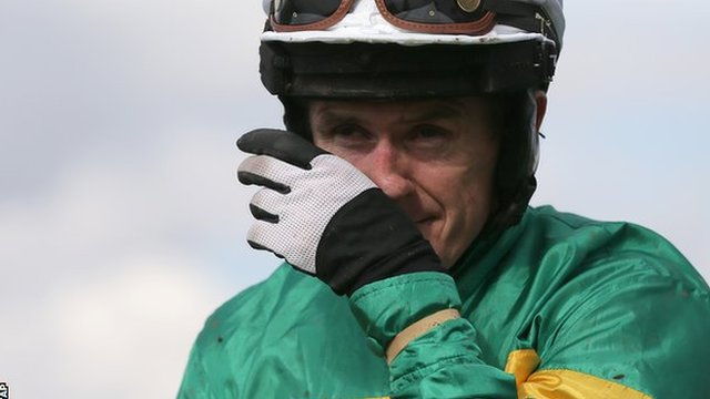 AP McCoy wipes away a tear after finishing third on Box Office in his final race at Sandown