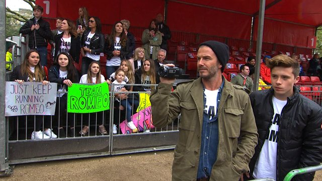 David Beckham supports son Romeo at London Marathon