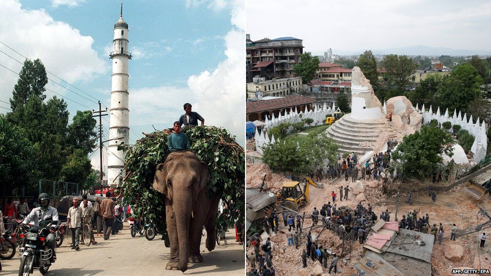 Dharahara tower before and after the quake
