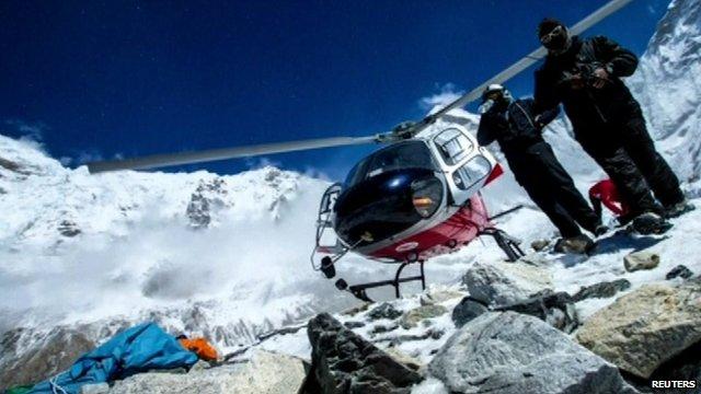 Helicopter at Everest basecamp