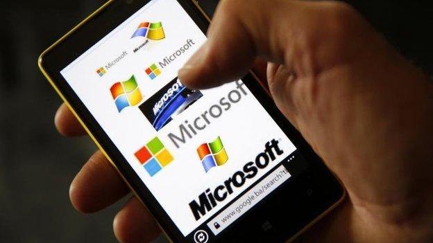 Microsoft logo on Lumia phone