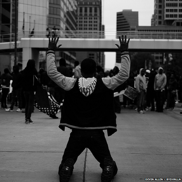 'The area where the protesters marched from is close to the area where I grew up,' Allen says. 'It's rough, but I picked a different route … for the last few years photography has been my passion.' Allen had a social media presence before the protests, but it's grown by thousands since his photos went viral - he now has around 20,000 Instagram followers. 'A lot of the people who are protesting don't have a same following that I do,' he says. 'As a native of Baltimore, I thought I had to use my craft and step up to help.'