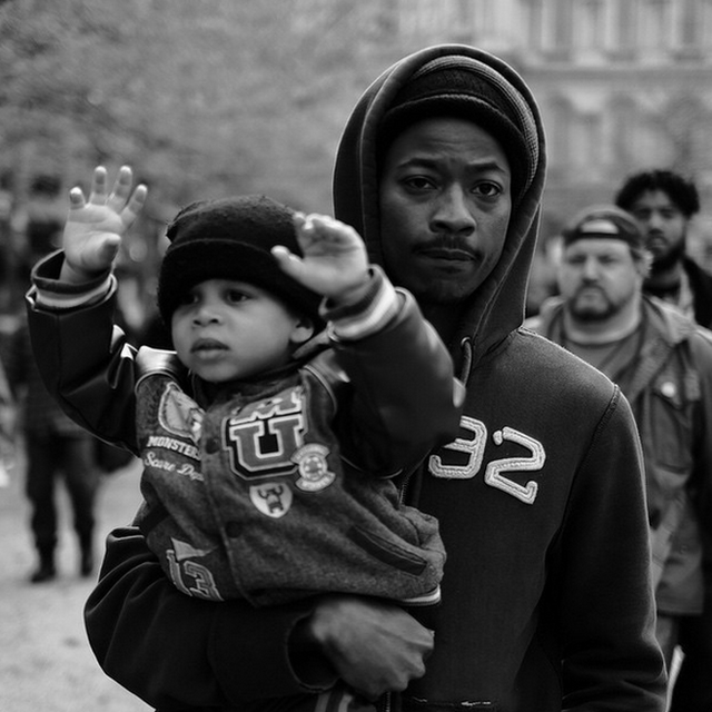 Allen's work is entirely independent – he says the local paper, the Baltimore Sun, has turned him down in the past. The above photo ended up on a national TV news report. 'This is a photo of a man and his son at a peaceful protest. But the rest of the report was all about riots and violence.'