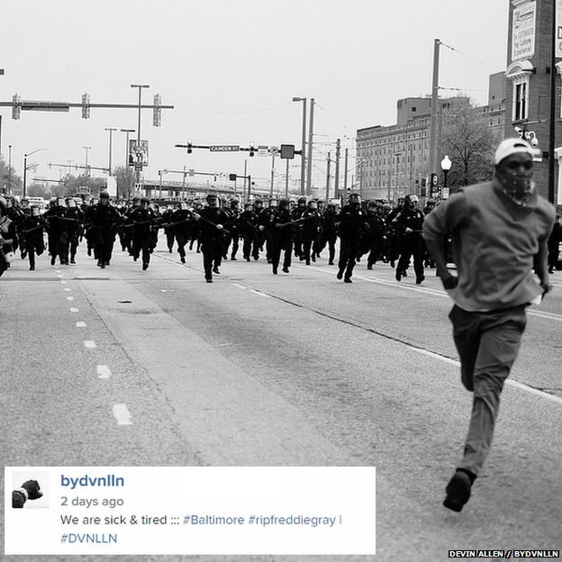 A picture by a self-taught photographer has become one of the most-shared images of the Baltimore protests