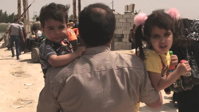 Children carried by their father