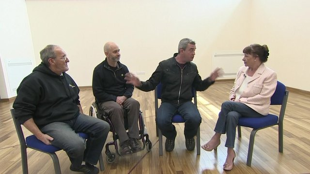 Giles Dilnot spoke to wheelchair basketball players, Ruth Jeffcoate, Sheraton Shaw and Ray McBride