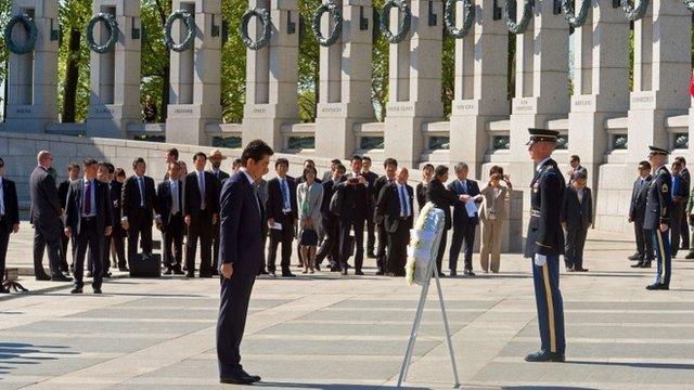 Shinzo Abe at the National World War II Memorial in Washington