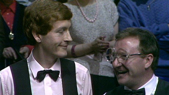Steve Davis and Dennis Taylor are interviewed after the 1985 World Snooker Championship final