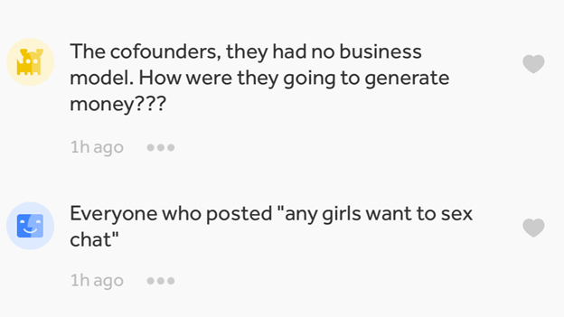 """""""The cofounders, they had no business model. How were they going to generate money?"""" And: """"Everyone who posted """"any girls who want to sex chat"""""""""""