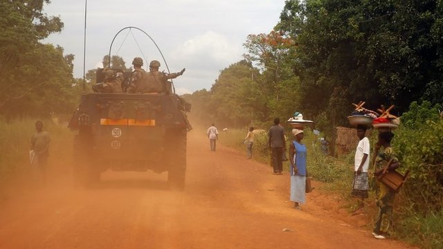 French forces patrolling in Sibut