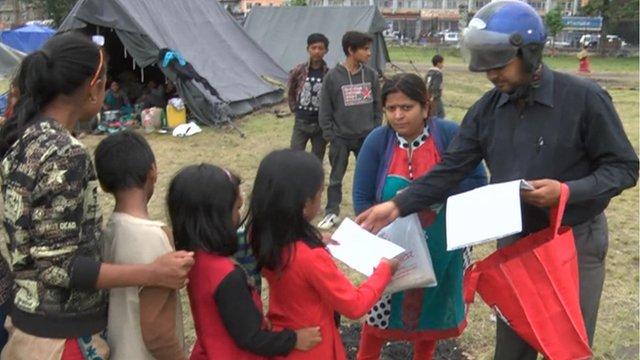 Children living in a pop-up camp in Nepal