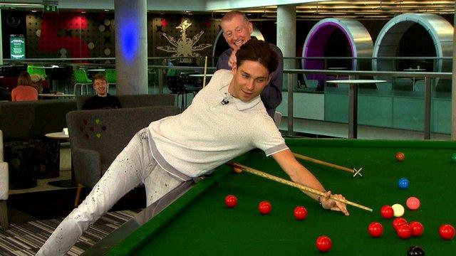 Steve Davis teaches Joey Essex how to play snooker