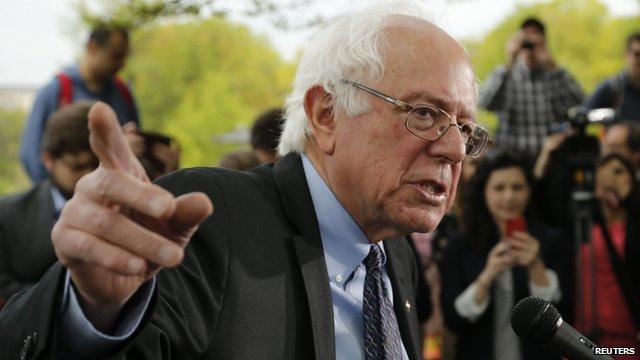 Sanders at the podium