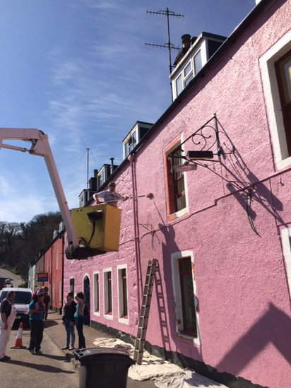 House being painted
