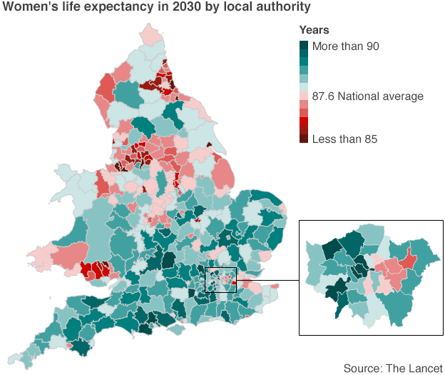 women's life expectancy in England and Wales in 2030