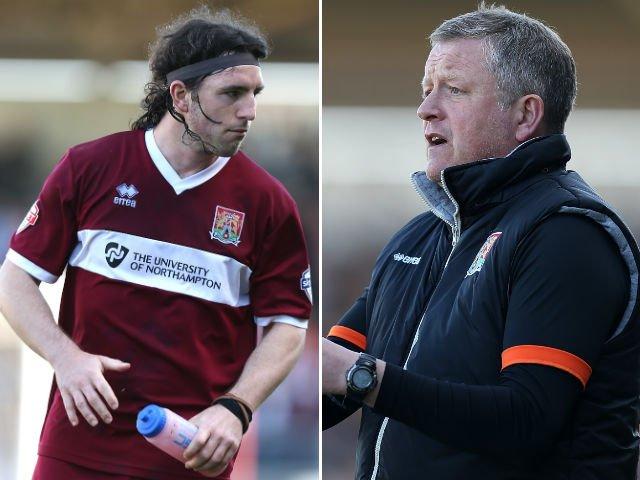 Northampton midfielder John-Joe O'Toole (left) and manager Chris Wilder (right)