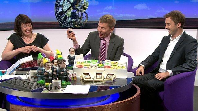 Zoe Williams, Andrew Pierce and Benedict Pringle with election merchandise