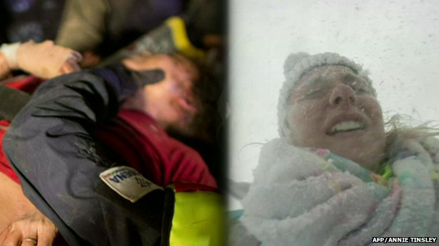 Krishna Khadka (l) and Annie Tinsley (r) who survived the Nepal earthquake