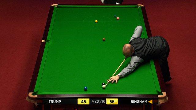 Stuart Bingham gets ready to take a shot
