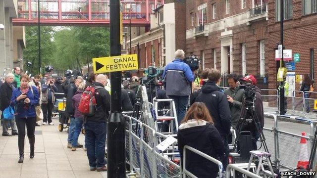 Crowd of photographers outside the Lindo Wing of Paddington Hospital, London, UK