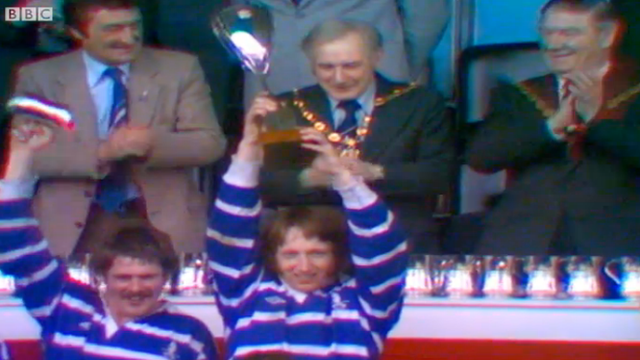 Bridgend captain JPR Williams lifts the 1979 Welsh Cup