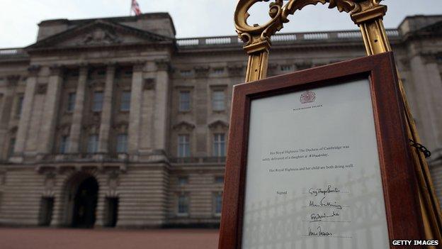Easel outside Buckingham Palace