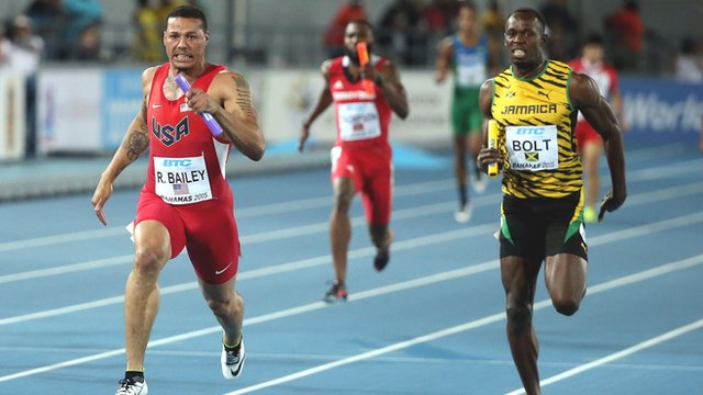 Ryan Bailey leads home Usain Bolt at the World Relay Championships