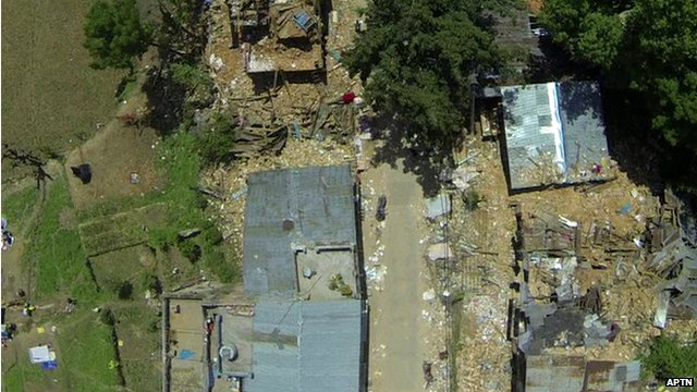 Drone footage of damage