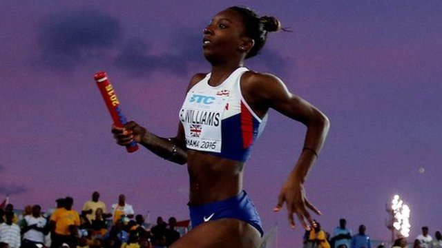Great Britain's Bianca Williams runs at the World Relay Championships