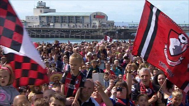 Bournemouth fans celebrate promotion