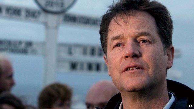 LibDem leader Nick Clegg at a campaign event at Land's End