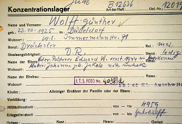 Gunter Wolff's registration card showing his arrival at Buchenwald - he had previously been in Auschwitz