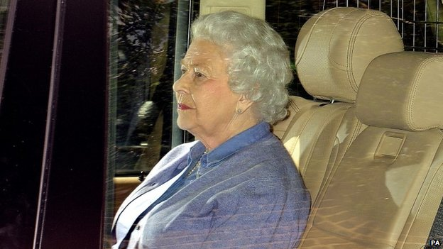 The Queen after visiting her great-granddaughter