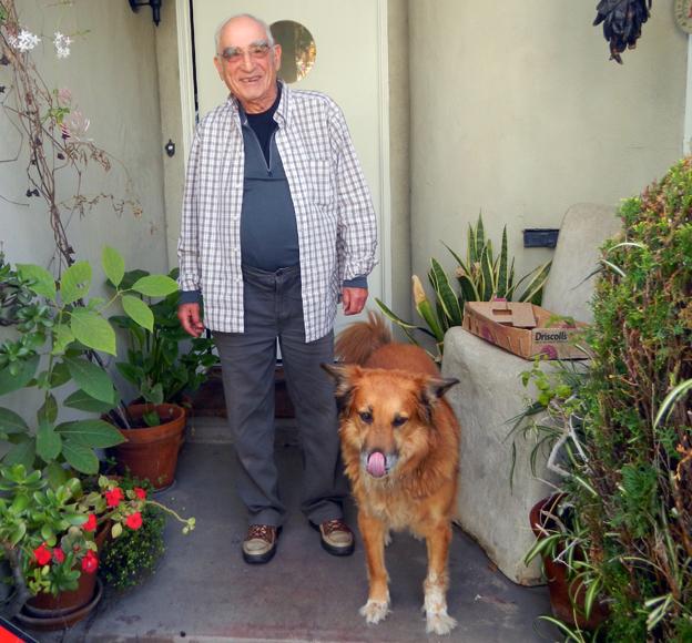 Gunter (Gary) Wolff with his dog, Teddy, 2015