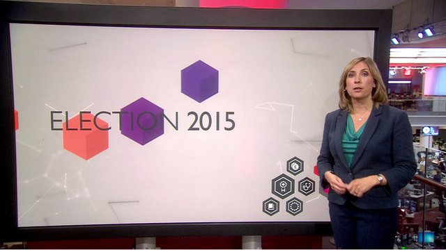 """Vicky Young in front of graphic saying """"Election 2015"""""""
