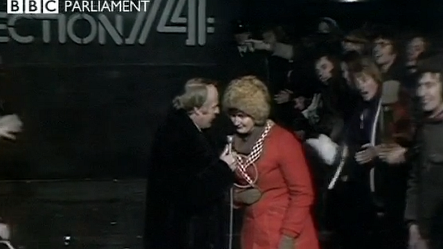 A woman is asked her opinion on the next prospective government as the BBC waits for results of the 1974 election - 28 February 1974