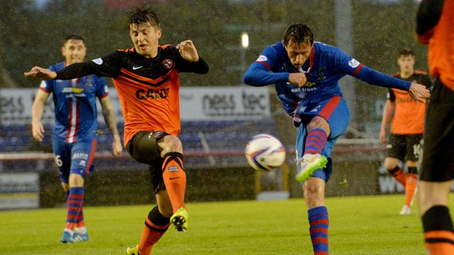 Danny Williams thunders the ball home to earn Inverness CT three points at home to Dundee United