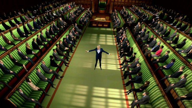 Jeremy Vine in the election green screen Parliament