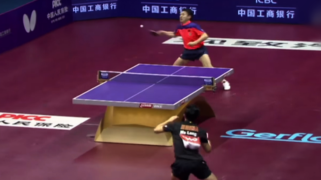 Table tennis players Ma Long and Fang Bo take part in a thrilling rally the 2015 Table Tennis World Championships in China.