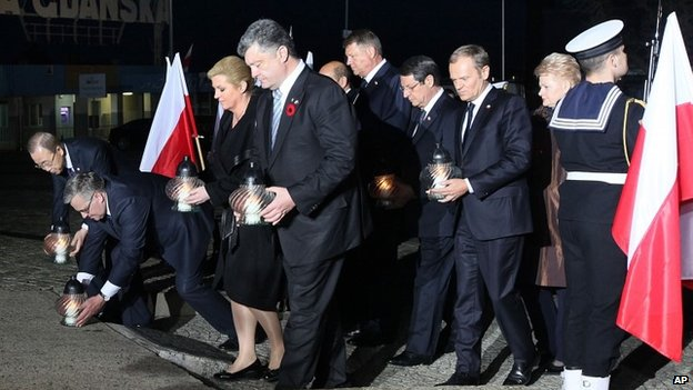 Foreign leaders taking part in a ceremony marking 70 years since the end of World War II in Gdansk, Poland, on Thursday, May 7, 2015.