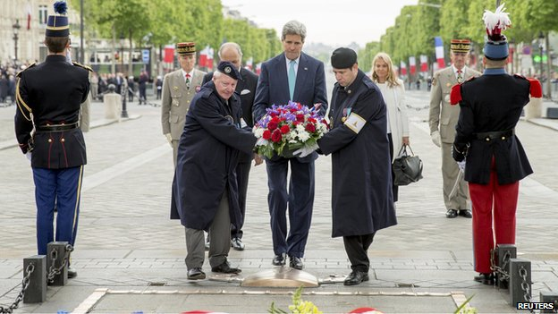 John Kerry at VE Day ceremony in Paris on 8 May 2015
