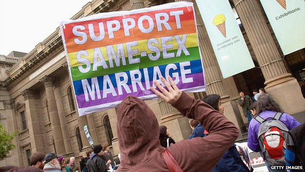 Protestors in favour of gay marriage rights in Melbourne in 2008