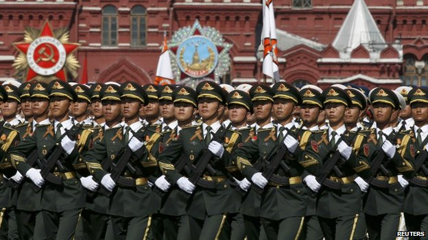 Chinese servicemen march during the Victory Day parade at Red Square in Moscow, 9 May