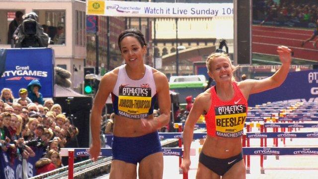 Katarina Johnson-Thompson beaten by Meghan Beesley in 200m hurdles