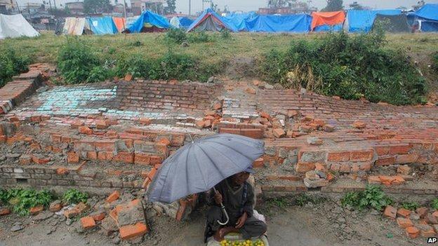 A street vendor in Kathmandu, Nepal