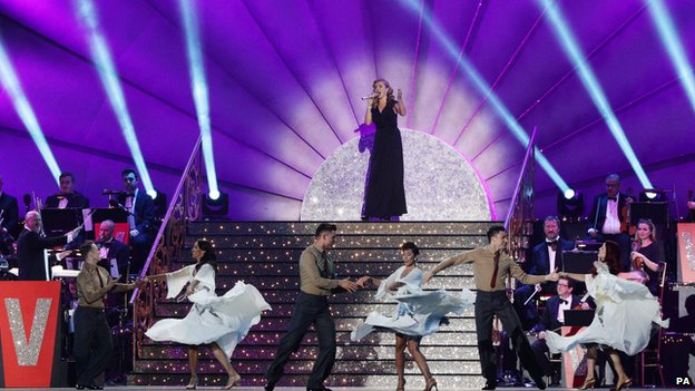 Katherine Jenkins with performers from Strictly Come Dancing