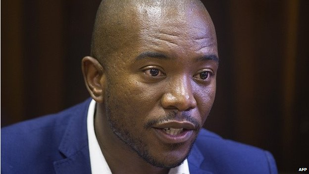 Mmusi Maimane, Parliamentary leader of the official opposition Democratic Alliance (DA), addresses a press conference on February 13, 2015, in Cape Town