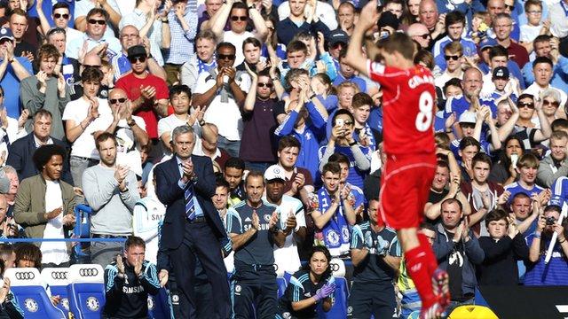 Jose Mourinho applauds Steven Gerrard off the pitch at Stamford Bridge