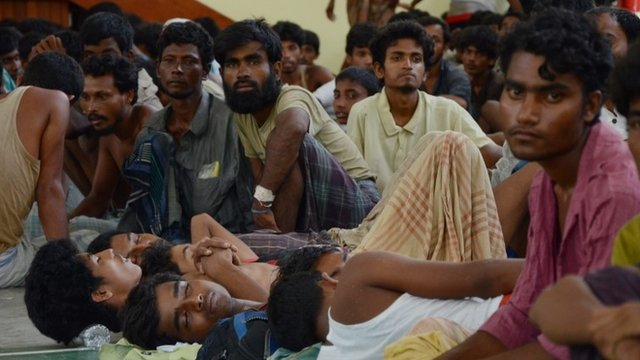 Rescued migrants from Myanmar and Burma