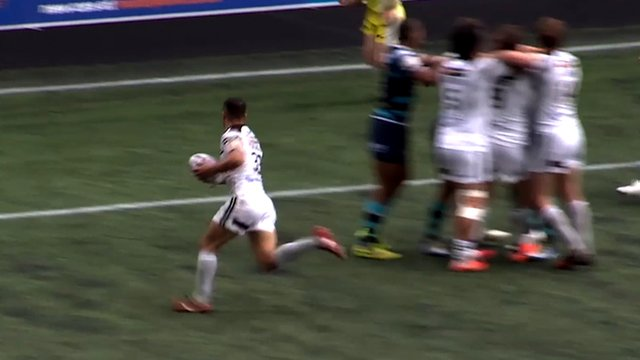Aaron Heremaia scores a try for Widnes Vikings against Leeds Rhinos
